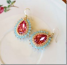 Rose and Pacific Opal Beaded Crystal Earrings ~ Free Instructions