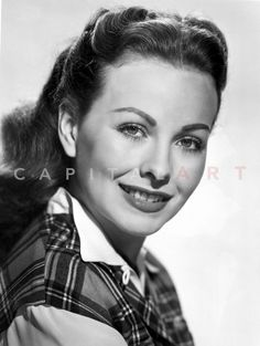 Jeanne Crain Portrait in Black Tartan Shirt with White Long Sleeves and Collar Premium Art Print Hollywood Actor, Golden Age Of Hollywood, Classic Hollywood, Film Man, Dana Andrews, Jeanne Crain, Tartan Shirt, Next Film, Olivia De Havilland