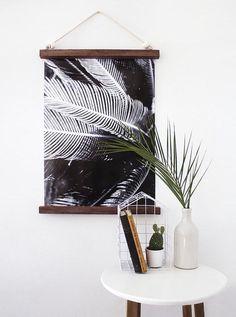 hanging half frame with leaf print