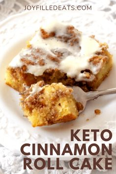 Low Carb Cinnamon Roll Cake has a sweet cinnamon filling, tender cake, & cream cheese glaze. You won't believe it's keto and gluten-free!  This easy keto cake will feed your desires for something sweet this fall. This easy cinnamon roll cake has all the things you love about classic cinnamon rolls, the frosting, filling, and cinnamon flavor minus the hours of work AND the carbs. This easy recipe is low carb, keto, gluten free, grain free, sugar free, and Trim Healthy Mama friendly. Trim Healthy Recipes, Best Low Carb Recipes, Keto Recipes, Keto Foods, Keto Snacks, Yummy Recipes, Favorite Recipes, Low Carb Deserts, Keto Cake