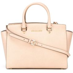 Michael Michael Kors Medium Selma Tote (€380) ❤ liked on Polyvore featuring bags, handbags, tote bags, leather tote, genuine leather tote, pink tote bag, leather purse e real leather handbags