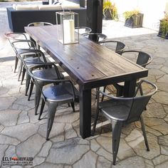 Farmhouse and Industrial Style Dining Tables built from Reclaimed Materials Garden Table, Patio Table, Dining Tables, Picnic Table, Dining Room, Furniture Making, Garden Furniture, Outdoor Furniture, Outdoor Dining