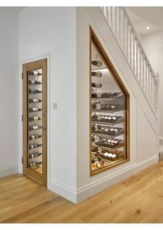 Basement Remodel Diy, Basement Remodeling, Secret Rooms In Houses, Under Stairs Wine Cellar, Staircase Storage, Home Wine Cellars, Classy Living Room, Home Stairs Design, Open Plan Kitchen Living Room