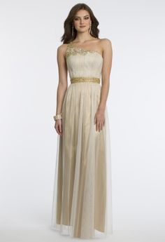 Mesh over metallic chiffon with beaded one shoulder straps and waistband by Cachet.•Beaded one shoulder•Ruched bodice •Beaded empire waist•Soft pleated full skirt•Open back and center zipper