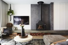 josh and elyse - That fireplace! Living and dining. the block 2017 Standing Fireplace, Fireplace Tv Wall, Modern Fireplace, Fireplace Design, The Block Room Reveals, My New Room, Home And Living, Living Rooms, Room Decor