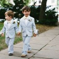 Ring Bearers : Flower Girl and Ring Bearer Inspiration: Devin Will's wedding // Donna Morgan Real Wedding // Photos by Jessica Haley Photography // Elegant Emerald wedding Wedding Suits, Chic Wedding, Wedding Attire, Dream Wedding, Wedding Prep, Wedding Ring, Wedding Ceremony, Seersucker Wedding, One Sweet Day