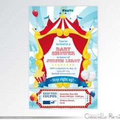 Turquoise And Red Carnival Circus Birthday Party Printable Invitation Photo Digital Find This Pin
