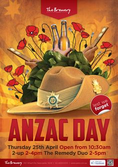The Brewery - Anzac Day Poster Lest We Forget Anzac, Anzac Day, Poster Designs, Brewery, Google Search, Live, Creative, Design Posters