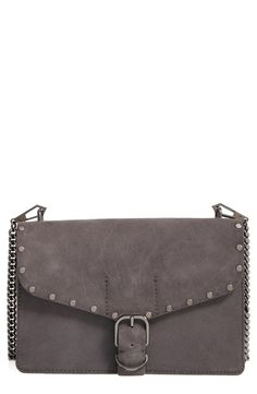 Free shipping and returns on Rebecca Minkoff Medium Biker Leather Shoulder Bag at Nordstrom.com. Polished studs and buckle hardware play up the biker vibe of a structured shoulder bag furnished from a gleaming chain and leather strap.