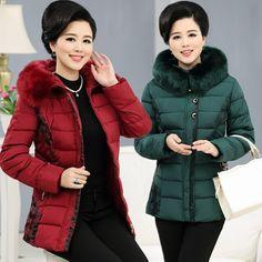 Chinese Coat: Best Price Jackets for Elderly Women Long Down Cot... Middle Aged Women, Womens Windbreaker, Fall Winter, Autumn, Cotton Jacket, Warm Coat, Old Women, Parka, Winter Jackets