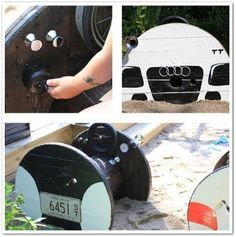 playground cars made from giant spools