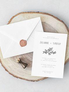 Rustic Wedding Invitation Template Laurel Wedding Invite