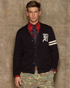 Rugby Ralph Lauren Navy Cotton Varsity Cardigan