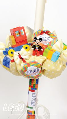 LUMANARE BOTEZ  BAIAT CU  PIESE LEGO DISNEY MICKEY MOUSE - HANDMADE  SHOP ONLINE WWW.C-STORE.RO,  MADE BY TONI MALLONI