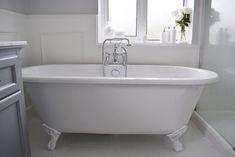 THE BATHROOM REMODEL - The Hoppy Home Cottage Renovation, Bathroom Interior Design, Clawfoot Bathtub, New Homes, Bathroom Ideas, House, Bathrooms, Home, Bathroom