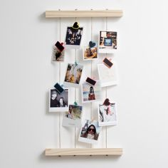 Timeframe's Hanging Peg Photo Display is the perfect way to display your cute Polaroid Prints. Made of stylish wood, this frame goes well with your pics and our pegs. This frame was made with pine and rope. Hanging Polaroids, Polaroid Display, Polaroid Frame, Hanging Photos, Frame Display, Display Ideas, Ways To Hang Polaroids, Photo Hanging, Display Design