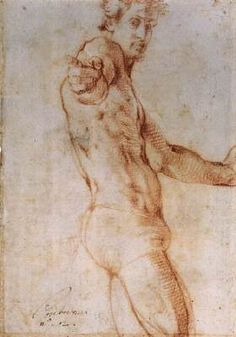 Self-Portrait (recto) - Jacopo Pontormo.  1525.  Red chalk drawing.  284 x 202 mm.  British Museum, London, UK.
