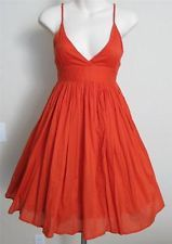 Jack by BB Dakota Modcloth Orange dress sundress babydoll cute circle plunge XS $40