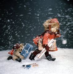 """A rare color photo that Dare Wright took to promote """"A Gift From The Lonely Doll."""""""