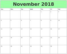 Free Download Printable Calendar November 2018 Without Download