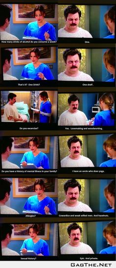 Ron Swanson goes to the hospital.