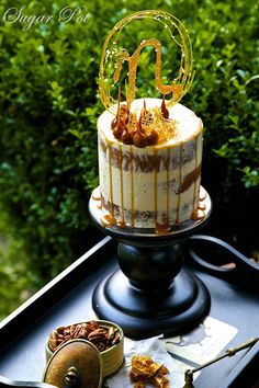 N stands for Neil! For the love of my life....simple pecan butter cake layered with homemade honeycomb Swiss butter cream and adorned with my version of spun sugar!