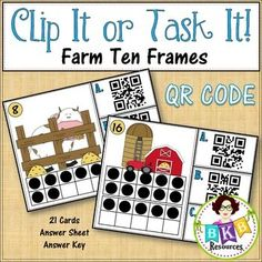 This farm themed ten frame QR Code Counting Clip It or Task It card set makes for an engaging math center activity.  Use this set as clip cards and your students will practice matching the correct QR code number with the ten frame image on the cards and enhance their fine motor skills at the same time. Just add clothespins and a device to read the QR code, then let the fun begin.  Use this set as task cards with the recording sheet and answer key.
