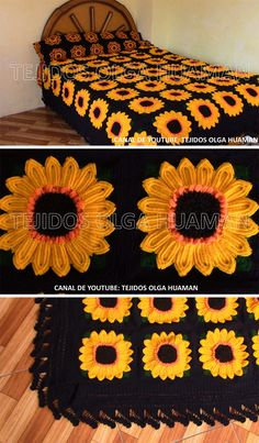 How To Make Crochet Sunflower Blanket : Sunflower Granny Square Blanket Crochet… – Granny Square Granny Square Crochet Pattern, Crochet Flower Patterns, Crochet Squares, Crochet Granny, Crochet Blanket Patterns, Crochet Flowers, Crochet Stitches, Crochet Blocks, Afghan Crochet