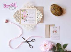 Romantic Desert Flowers Laser Cut Wedding by yourstrulyinvitation