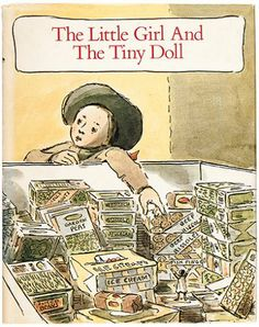 The Little Girl and the Tiny Doll. Edward Ardizzone and Aingelda Ardizzone. Short, sweet picture book about a tiny doll who falls into a chest freezer at the grocery store and a little girl who comes to her rescue. Old Children's Books, My Books, Story Books, Reading Books, Vintage Books, Children's Book Illustration, Illustrations, Edward Ardizzone, Tiny Dolls