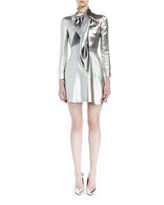 W0EHQ Saint Laurent Silk Lamé Tie-Neck Mini Dress, Silver