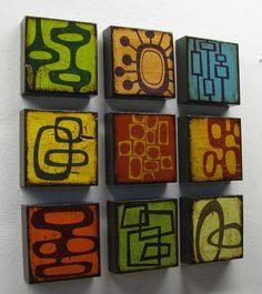 Mid Century Modern Inspired Atomic Art Block Painting--MatchBlox-1319. $25.00, via Etsy.