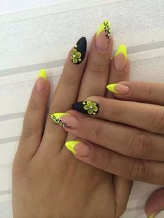 Matte Black and Yellow Themed Nails. Matte nail colors are so in fashion. So just cover your nails with the simple matte colors or go with the nail arts adding elements just like the one in the picture above.