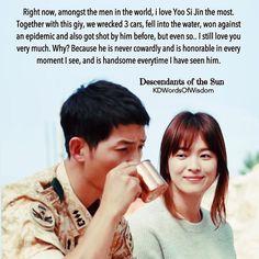 Yoo sin jin and mo yeon ❤️❤️❤️ Korean Drama List, Korean Drama Funny, Korean Drama Quotes, Desendents Of The Sun, Descendants Of The Sun Wallpaper, Drama Words, Song Joon Ki, Korean Actors, Korean Dramas