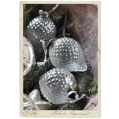 Christmas decoration, silver glass ball, clear glass