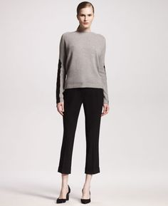 Leather-Sleeve Cashmere Sweater & Cuffed Tropical Wool Pants by Reed Krakoff at Bergdorf Goodman.