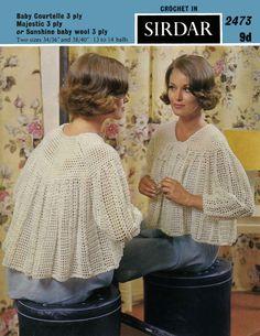 Vintage Ladies Bedjacket, Crochet Pattern, 1960 (PDF) Pattern, Sirdar 2473 by LittleJohn2003 on Etsy