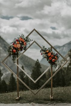 This unique wedding arch, designed by Hornwood Works in Calgary, Alberta, was created as a wooden double diamond archway for our couple's outdoor wedding ceremony. The wedding took place at Tunnel Mou Wedding Ceremony Ideas, Outdoor Wedding Backdrops, Wedding Ceremony Decorations, Diy Wedding Arch Ideas, Wedding Archway Diy, Wedding Archways, Wedding Favors, Hanging Flowers Wedding, Wedding Reception