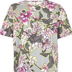 Grey boxy floral print t-shirt £30.00