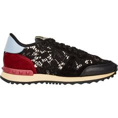 Valentino Lace & Leather Rockrunner Sneakers (€700) ❤ liked on Polyvore featuring shoes, sneakers, colorless, black leather shoes, black flat shoes, black lace up shoes, black shoes and black lace shoes
