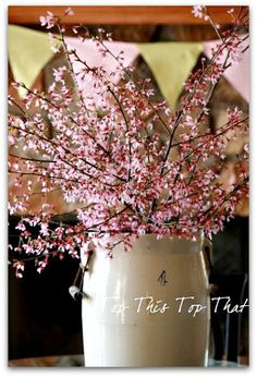 Cherry Blossoms in a large ceramic vase