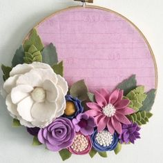 Pink and purple felt flower  embroidery hoop by wiltedrosewreaths