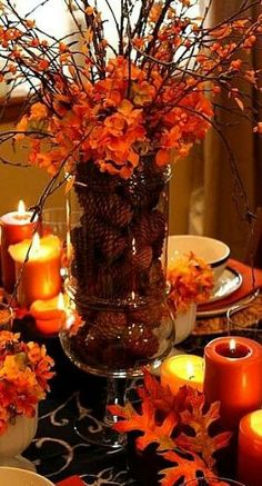 Thanksgiving decorations - Leaves and orange candles make for the perfect intimate Thanksgiving table setting. Thanksgiving decorations - Leaves and orange candles make for the perfect intimate Thanksgiving table setting. Fall Crafts, Holiday Crafts, Fall Table Centerpieces, Fall Table Decorations, Table Arrangements, Thanks Giving Table Decorations, Wedding Centerpieces, Diy Thanksgiving Centerpieces, Fall Flower Arrangements
