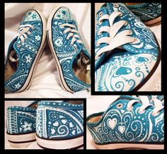 turquoise shoes + acrylic paint