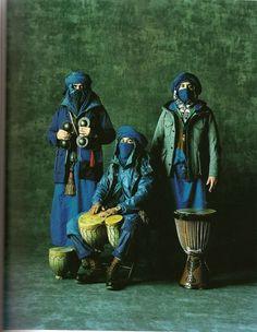 "Tuareg society women do not wear veil,men do. Tuareg symbol: Tagelmust (called éghéwed)or Cheche (pronounced ""Shesh""),indigo blue-colored veil called Alasho."