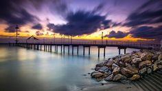 Australia, Brighton Beach, Molo, Morze, Zachód słońca, Kamienie