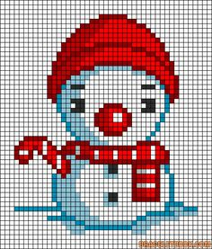 Christmas snowman perler bead pattern