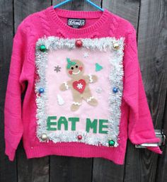 naughty ugly christmas sweater funny eat me gingerbread man medium one of a kind - Pink Ugly Christmas Sweater