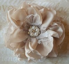 Champagne and lace bridal fascinator!