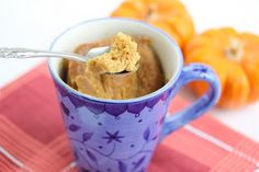 Flourless Peanut Butter Mug Cake. peanut butter anything is good. this is so easy Peanut Butter Mug Cakes, Gluten Free Peanut Butter, Single Serve Desserts, Single Serving Recipes, Mug Recipes, Pumpkin Recipes, Dessert Recipes, Cake Recipes, Drink Recipes